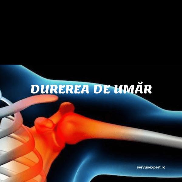 durere în articulația umărului drept cu un suspin)